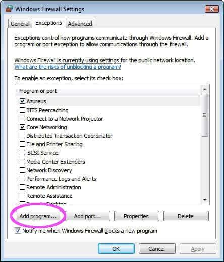 How to allow a program through the Windows Vista Firewall