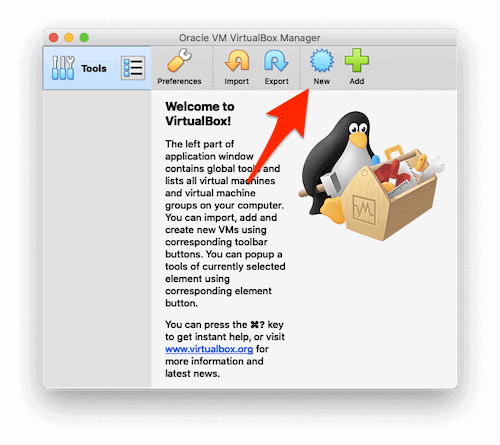 the main VirtualBox window with an arrow pointing at the New button