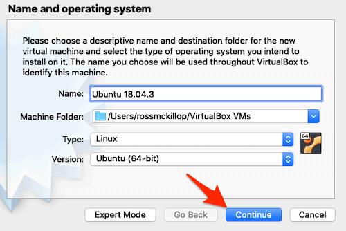 setting options for an Ubuntu in VirtualBox on a Mac