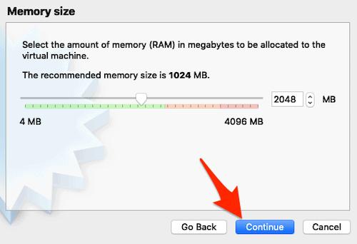 allocating memory for a VM in VirtualBox