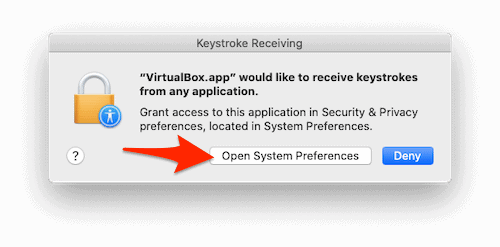 a macOS dialogue window with an arrow pointing to the Open System Preferences button