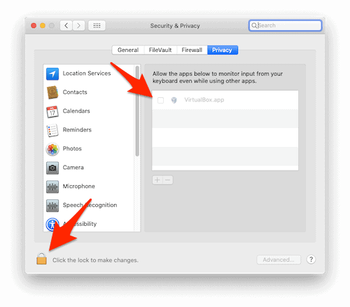 an arrow pointing to a Lock icon in the macOS System Preferences