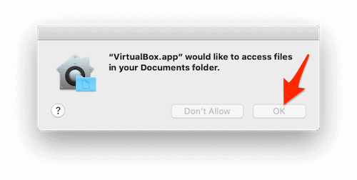a grant permissions window in macOS