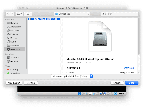 a macOS Finder select a file window with an arrow pointing to an Open button