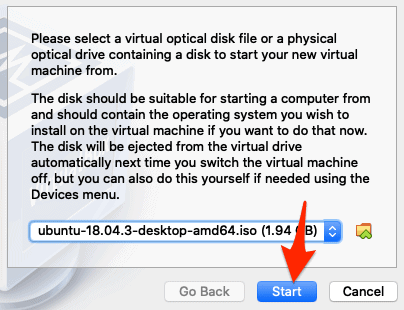 an arrow pointing to a Start button