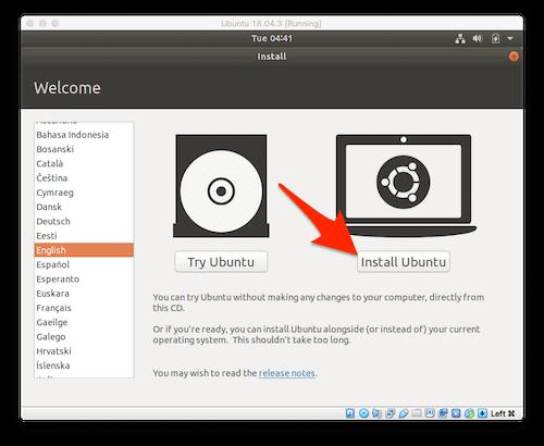 installing Ubuntu on a Mac in VirtualBox