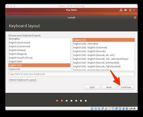 the Select a Keyboard screen of the Ubuntu installation wizard