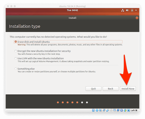 the selecting the installation method screen of the Ubuntu installation wizard