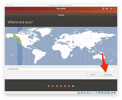 selecting a Time Zone to use in Ubuntu