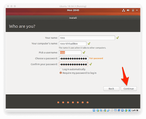 entering user info for setting up Ubuntu on a Mac