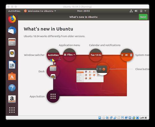 the Ubuntu Desktop running in a VM on a Mac