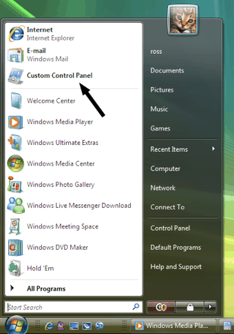 vista start menu with custom control panel