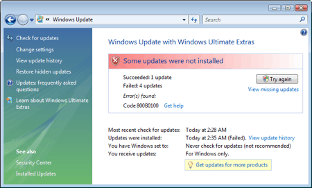 windows vista update error 800B0100