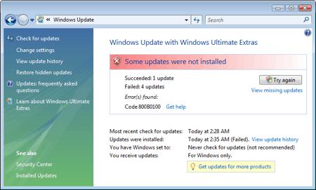 windows vista update error 800B0100