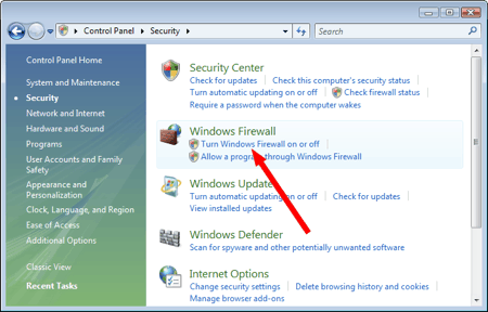 windows vista control panel security section