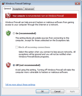 windows vista firewall disabled