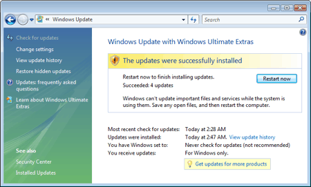 windows vista update manager successfully updated