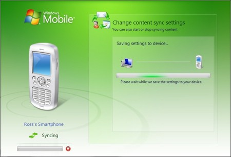 syncing a smartphone in windows vista
