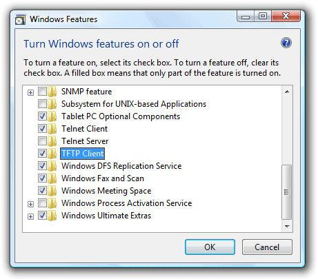 How to install a tftp client in Windows Vista