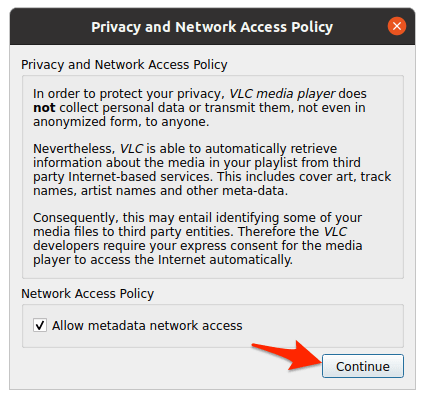 the access permission window for VLC