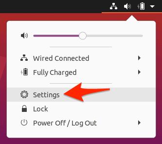 the Settings option in Ubuntu