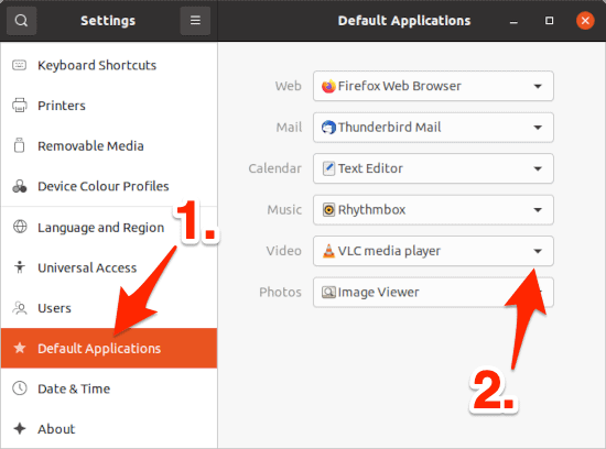 the Ubuntu Settings window with the Defaults section displayed