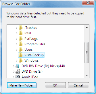 select a location to save the vista files