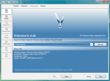 main vlite interface