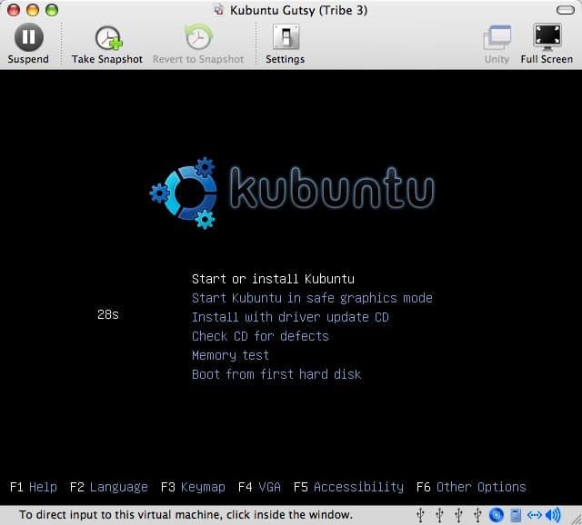 How to install Kubuntu (Gutsy Gibbon Tribe 3) using VMware