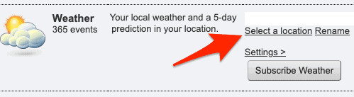 the weather section of webcal.fi
