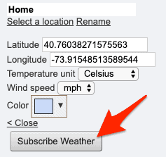 the settings options for the weather on webcal.fi