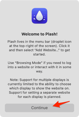 the Plash welcome screen