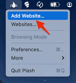 the Plash menu with an arrow pointing to Add Website