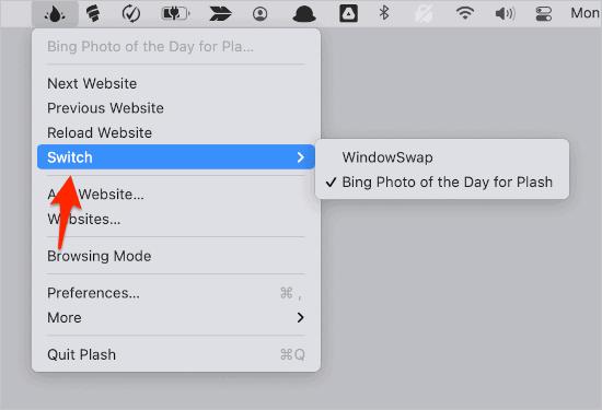 the Switch menu in the Plash app