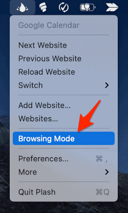 Browsing Mode in the list of Plash options