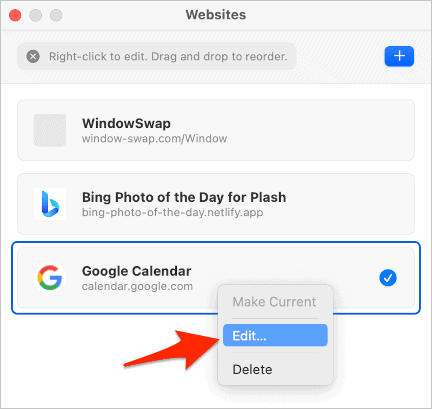 the Plash Websites panel with the context menu displayed on the Google Calendar entry