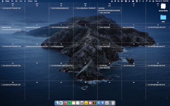a customized Google Calendar displayed as a background on a Mac