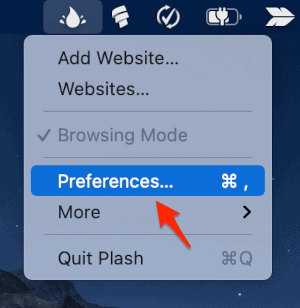 an arrow pointing to Preferences in a menu