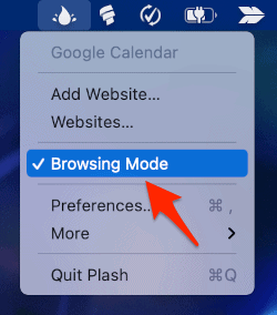 disable browsing mode in the Plash app