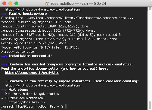 homebrew installation completed macOS Terminal