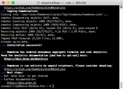 instalación de homebrew completada terminal macOS