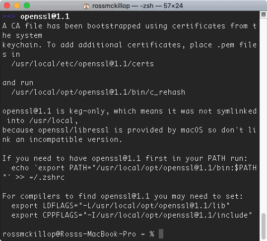 a macOS Terminal with the wget installation completed