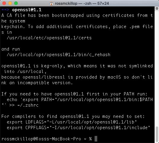 una terminal macOS con la instalación de wget completada