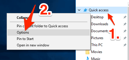 an arrow pointing to the Options item in the Quick access menu