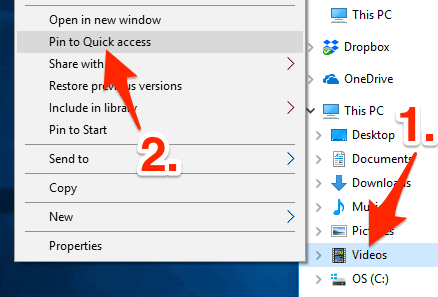 customize Quick access by adding a specific folder