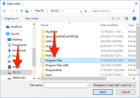 a windows 10 file manager with an arrow pointing at the program files directory