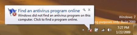 Windows 7 System Notification regarding lack of antivirus software