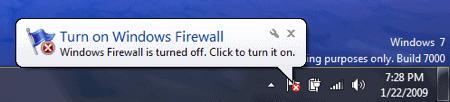 Windows 7 System Notification regarding the Windows Firewall being turned off