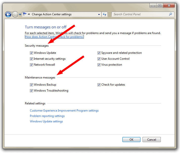 How to disable the System notifications in Windows 7