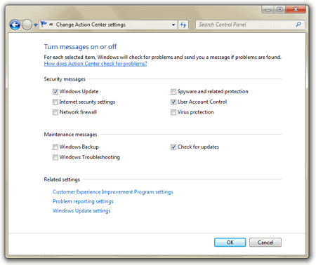 disable System Notifications via the Windows 7 Control Panel